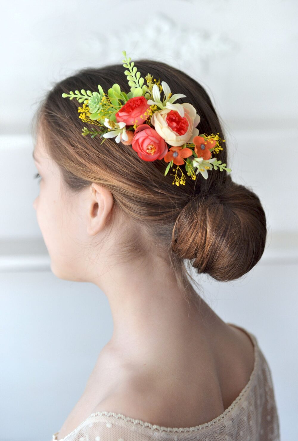 Coral Hair Comb Summer Wedding Flower Yellow Floral Head Piece Bride Flowers