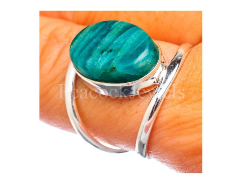 Amazonite Sterling Silver Ring, 925 Anniversary Gift For Sister, Ring Gift, Gemstone Christmas Sale