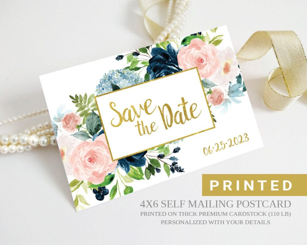 Wedding Save The Date Postcards Peony Flower   Gold, Royal Blue, Pink, Botanical Floral Save Dates Printed