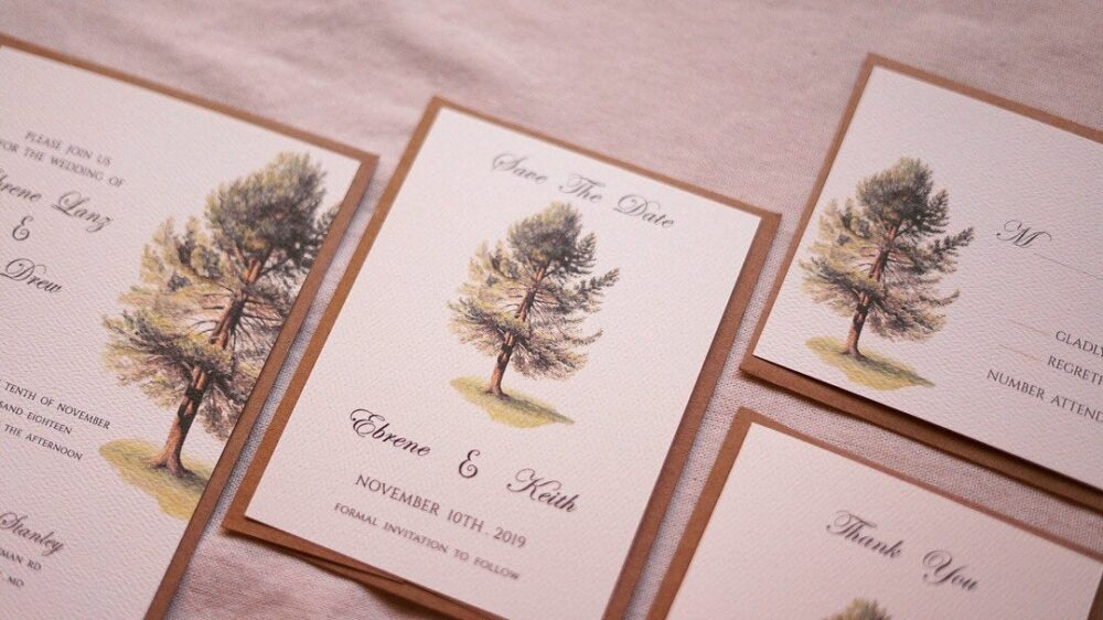 Printable Or Printed - Pine Tree Wedding Save The Date Evergreen The Date Vintage Winter