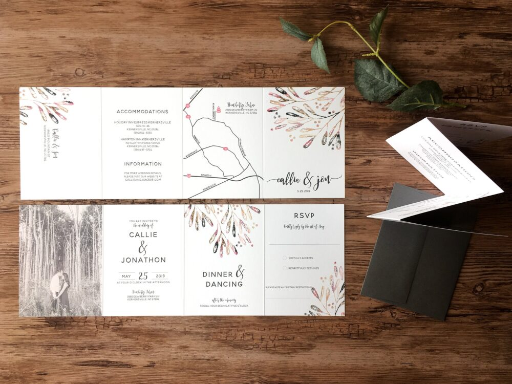 Wedding Invitation Suite · Millennial Pink Modern All in One Invitations Includes Tear Off Reply Card & Optional Photo   224