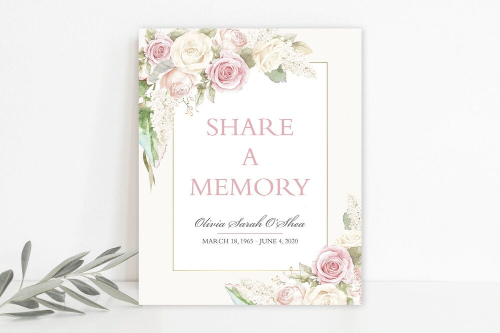 Funeral Share A Memory Sign Printable Celebration Of Life Memorial Card Blush Gold Rose Floral 8x10 Template