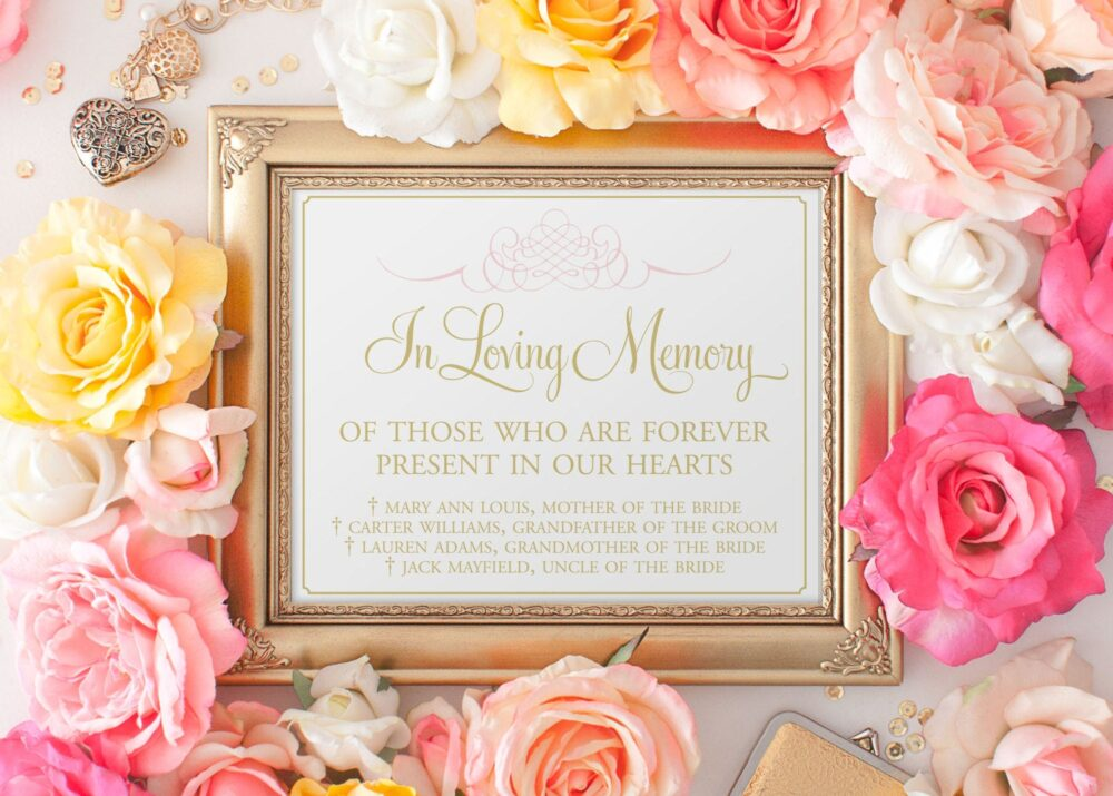 In Loving Memory Sign, Forever in Our Hearts Memorial Table Memory, Wedding Printed With Names Sign 8 X 10