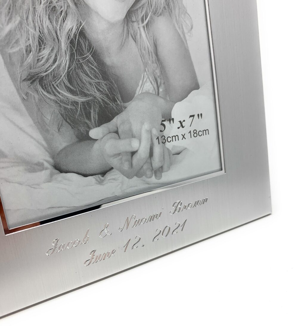 Personalized 5x7 Photo Frame With Wide Boarder Engraved Picture 2 Lines Custom Text Engraving