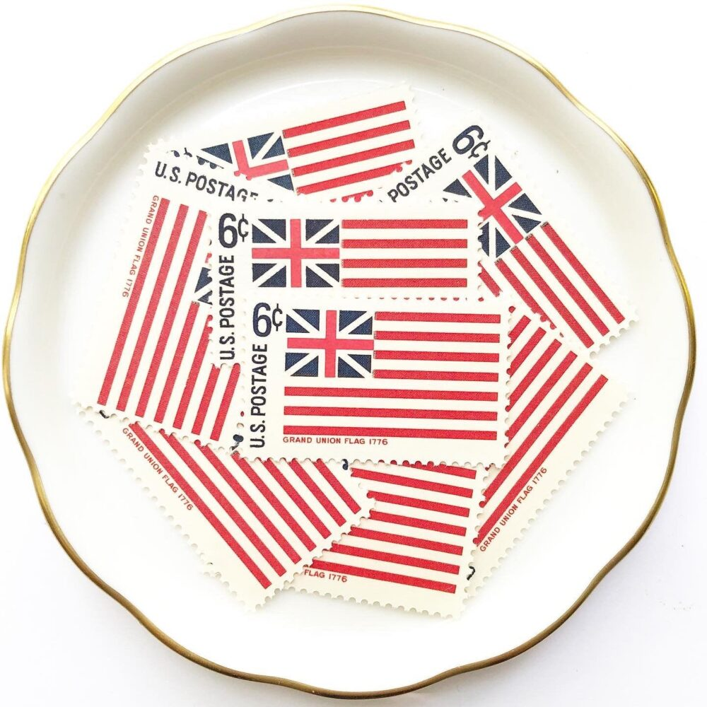 Flag Unused Postage Stamps For Wedding Invitations & Snail Mail Letters // Vintage Usps Historic American Flags British Union Jack 1968