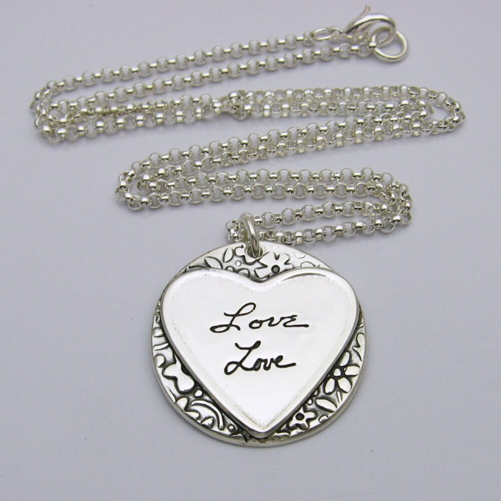Wedding Jewelry, Personalized Handwriting Necklace, Silver Heart Signature Name Necklace