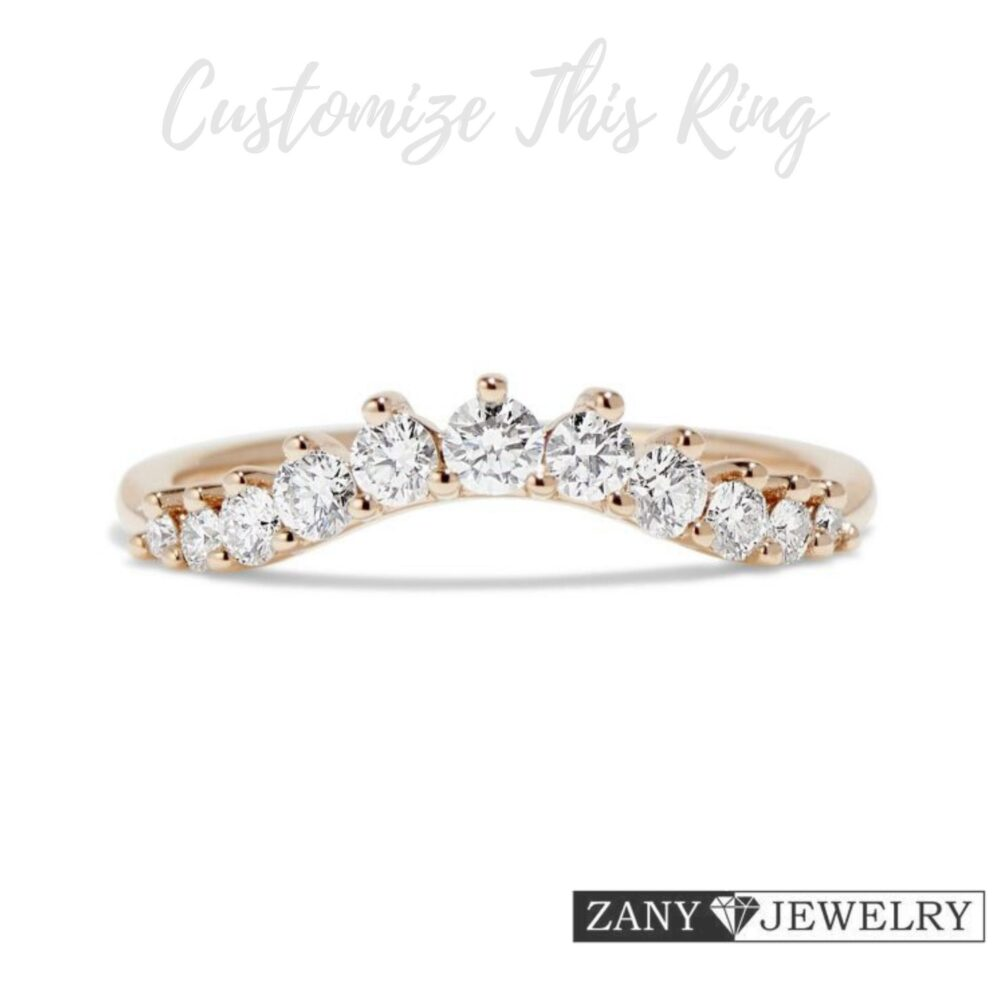 0.70Ct Round Moissanite Wedding Ring, 10K/14K/18K Solid Rose Gold, Engagement Ring Matching Band Gift For Special Person Easter Jewelry Sale