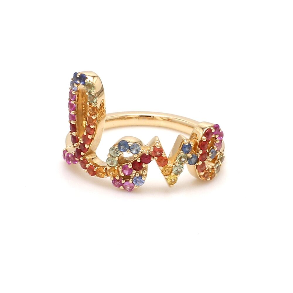 Rainbow Sapphire Love Ring Initial Name in Solid Gold, Natural Band Ombre Gradient Rainbow Gay Pride Gold