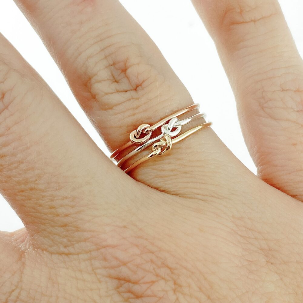 Knot Ring Set, Thin Stacking Pack, Gold Love Ring, Minimalist Band