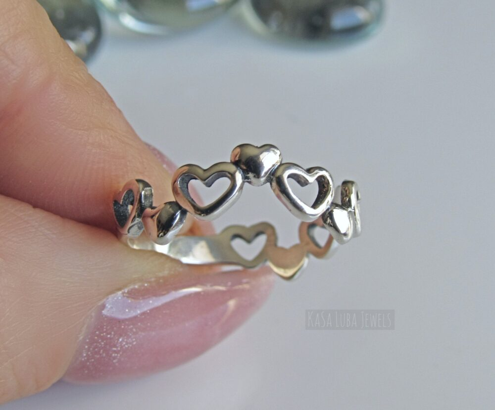 Heart Sterling Silver Ring, Promise Heart Love Ring - Womens 925