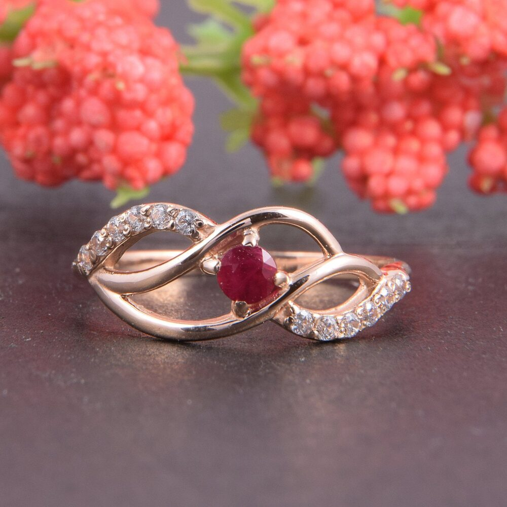 Gold Ruby Ring, Multistone Ring, Rose Gold Promise Ring Gold, Women Promise For Her, Dainty Gold, Tiny Ruby