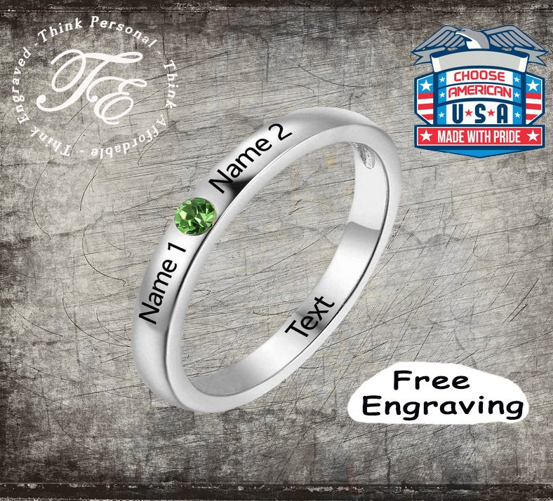 Engraved Promise Ring For Her With Names & Choice Of Birthstone