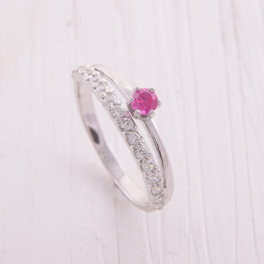 Womens Ruby Promise Ring, Silver Engagement Jewelry, Pink Stone Ring