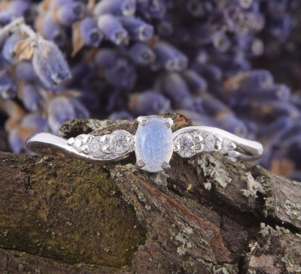 14K Solid White Gold Womens Moonstone Promise Ring, Moonstone Engagement Ring, Unique Ring For Her, Small & Simple