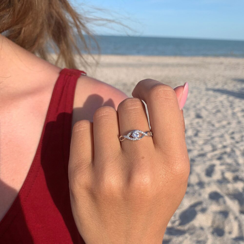 925 Sterling Silver Dainty & Elegant Womens Infinity Promise Ring, Small Minimalist Ring For Her, Delicate White Cz Engagement