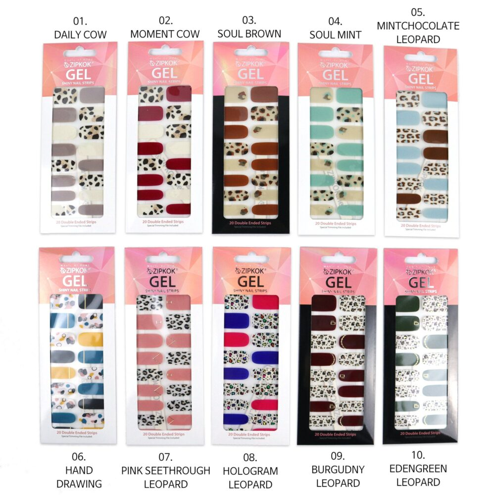 2-Pack Animal Patterns Zipkok® Gel Nail Strips 20 Art Stickers in 10 Sizes Mini Nail File Included