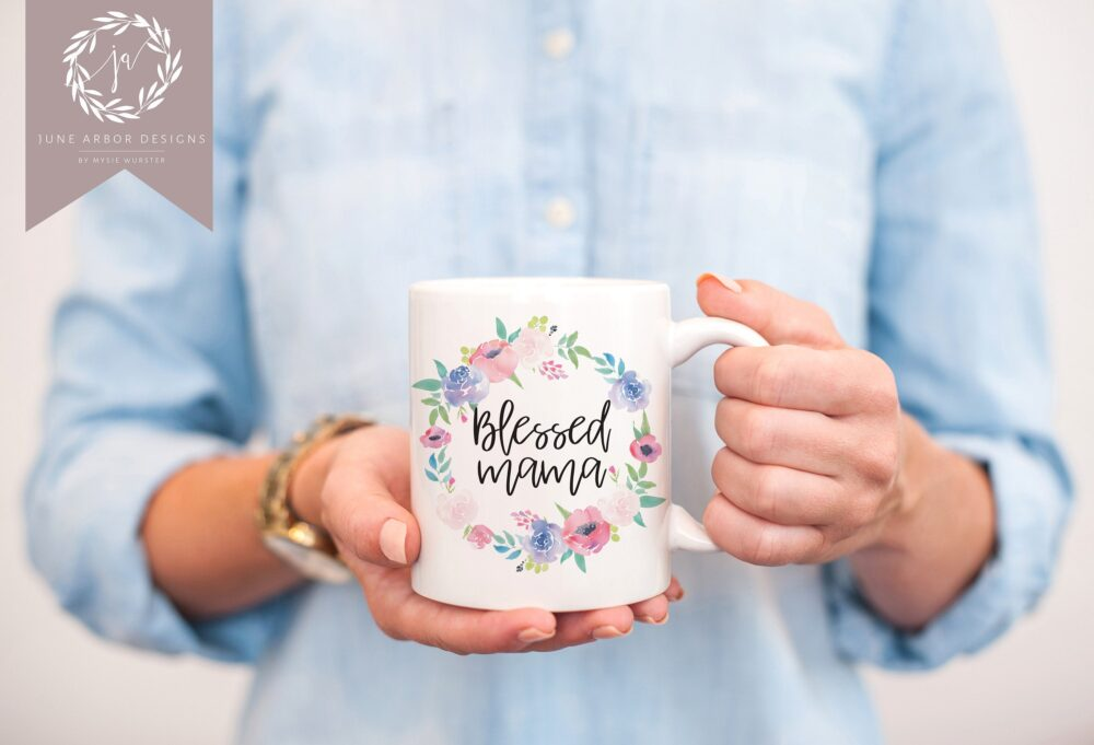 Blessed Mom Coffee Mug | Mother's Day Gift For New Floral Life