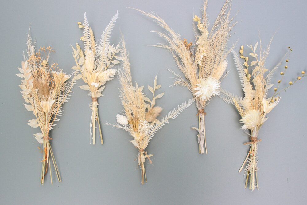 Mini Pampas Grass Bouquet/Dried Flowers Bunch Natural Preserved Muted Tone Arrangement Bud Vase Dry in Bleached Color