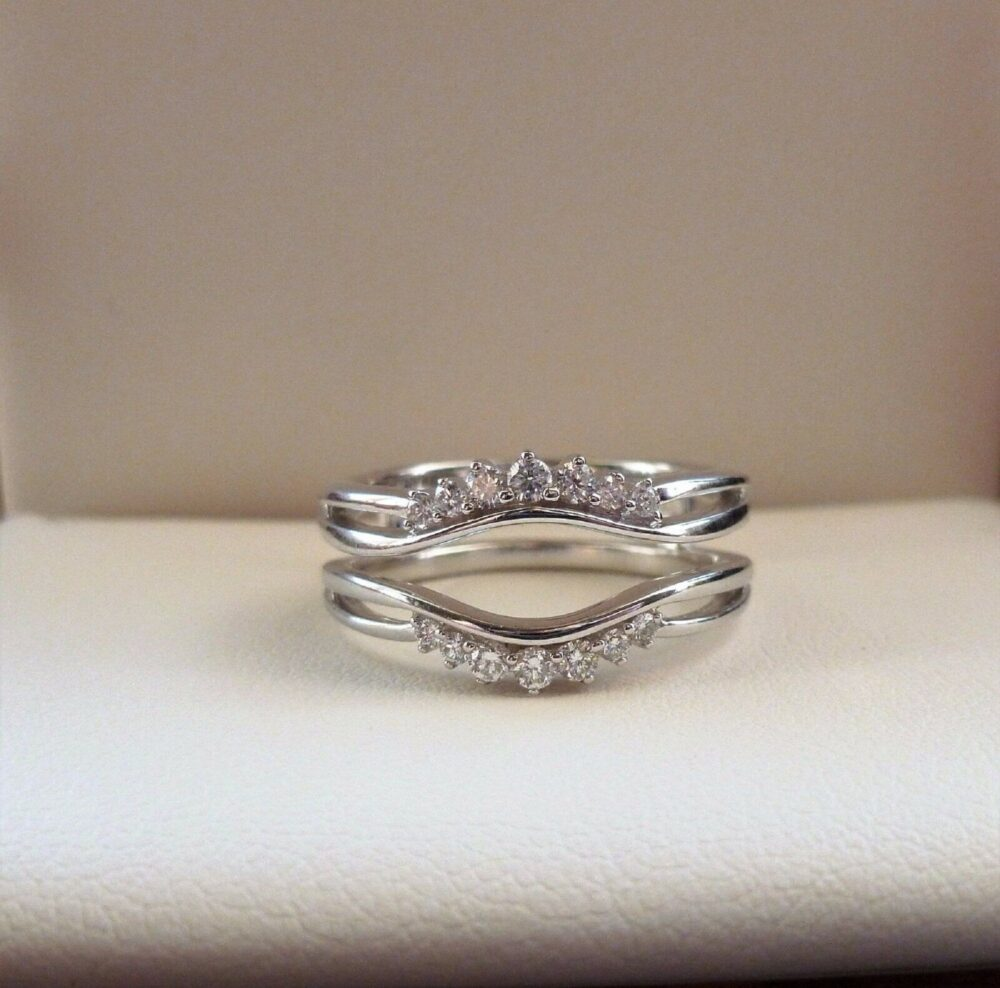 0.25 Ct Simulated Diamond Solitaire Double Row Swirl Enhancer Guard Band Ring Silver 10K White Gold Plated