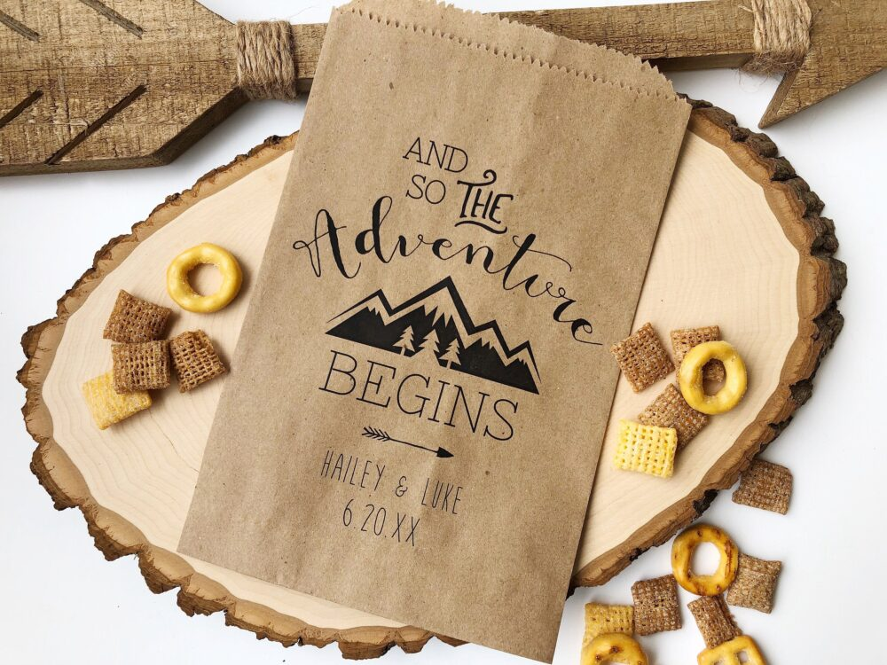 Wedding Favor Bags, Trail Mix Snack Bar Buffet Candy Personalized Custom 25 Pack