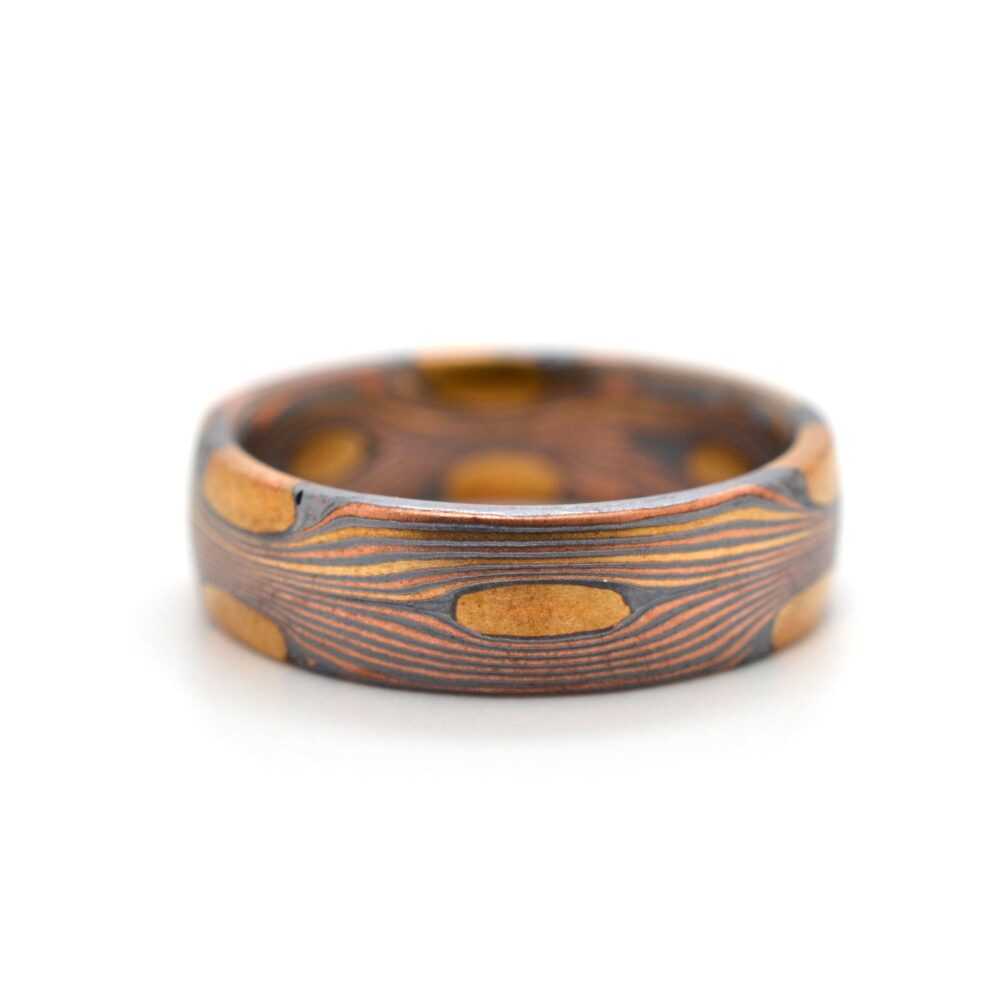 Mokume Gane Ring Wedding Or Band in Flow Pattern With Oxidized Silver
