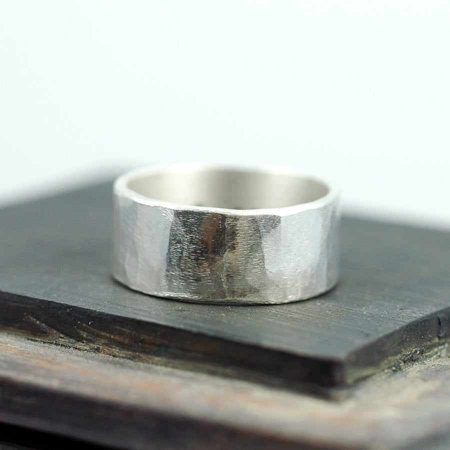 Wide Sterling Silver Band Wedding Ring With A Hammered Texture Created From Recycled Ecofriendly Rustic Custom & Personalized