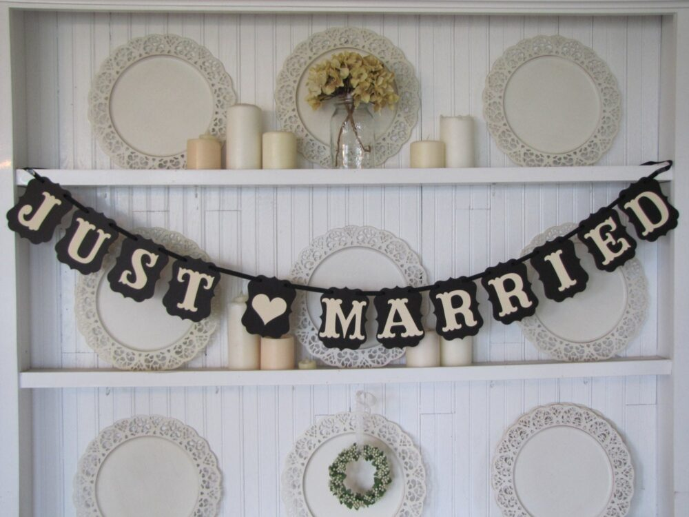 Just Married Wedding Banner, Just Married Sign, Decoration, Car, Country Wedding, Rustic Classic