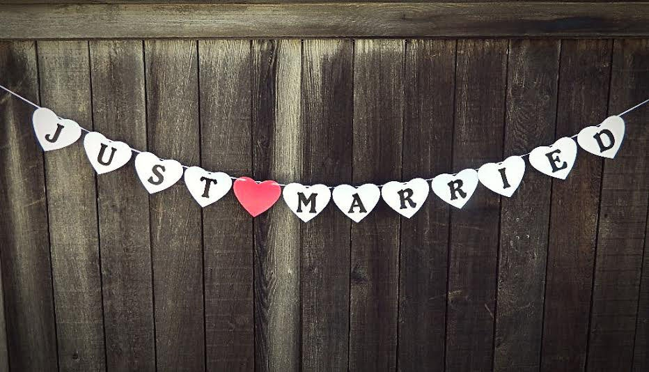 Just Married Wedding Banner Garland Metallic White With Red Heart Photo Prop, Hanging Banner, Thank You Cards Table Party Decoration