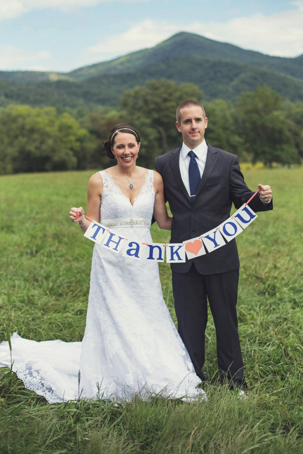 Thank You Sign/Rustic Wedding Banner Photo Prop Decoration Coral & Navy Blue