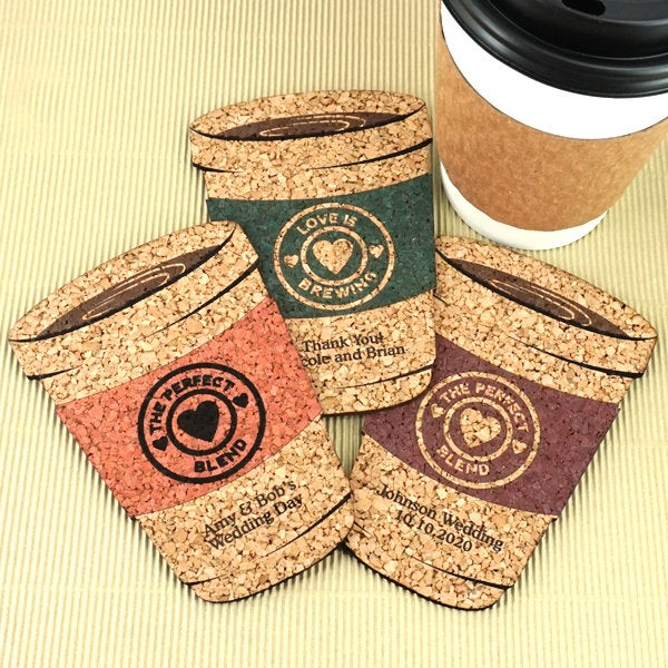Wedding Favor Coasters, Personalized Coffee Cup Shaped Cork Coasters - Set Of 12