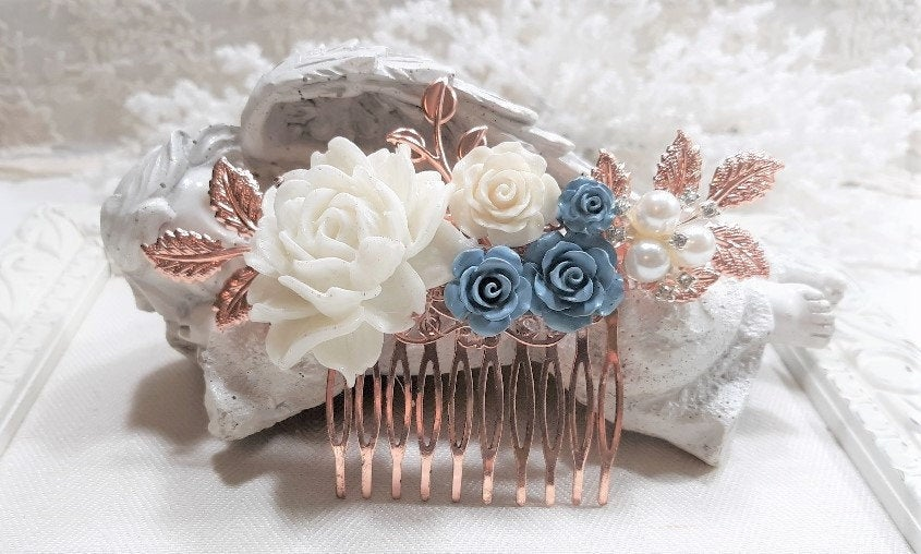 Dusty Blue & White Wedding Hair Comb, Dusty Bridal Hairpiece, Floral Accessories, Rose Gold Comb, Dusty Flowers