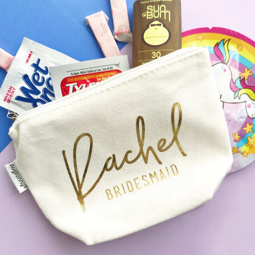 Custom Bridesmaid Bag | Personalized Note Inside Make Up Bag Maid Of Honor Gift Unique Bridal Party Makeup Cosmetic Bags