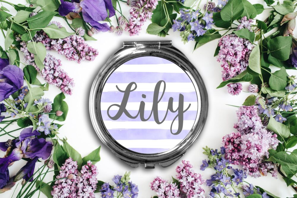 Personalized Stripe Compact Mirror -Personalized Mirror, Bridesmaid Bridal Party Makeup