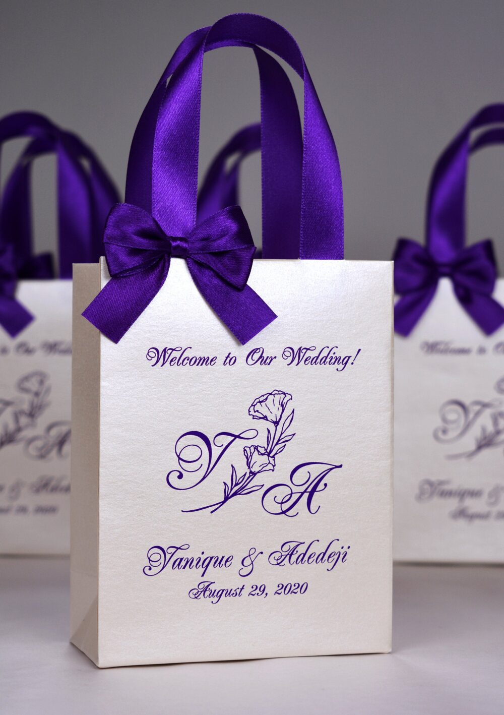 30 Purple & Champagne Wedding Welcome Bags With Satin Ribbon Handles, Bow & Names, Elegant Monogram Wedding Party Favor Bag For Guests