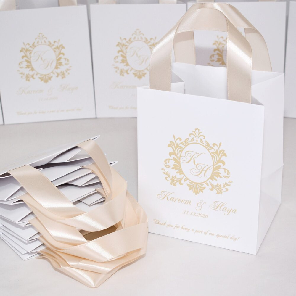 25 Champagne Wedding Monogram Bags For Party Favors Guests, Elegant Personalized Welcome Bags With Satin Ribbon Handles & Names