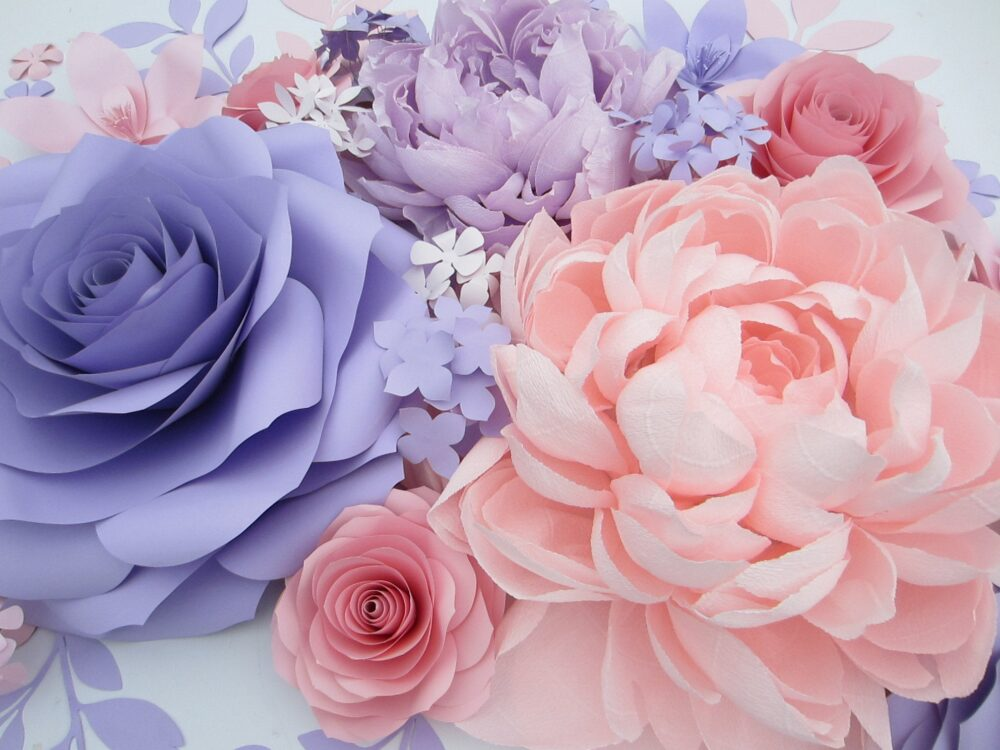 20 Purple Rose Giant Paper Flowers With Crepe Peony