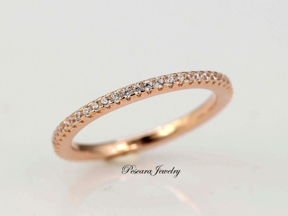 Rose Gold Wedding Band, Full Eternity Band Ring, Engagement Ring, Thin Cz Ring Band, Micro Pave Matching Stacking Ring