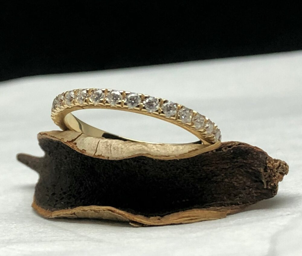 Thin Eternity Band, Ring, Dainty Ring, Stacking For Her, Wedding Engagement Rose Gold, Moissanite Band