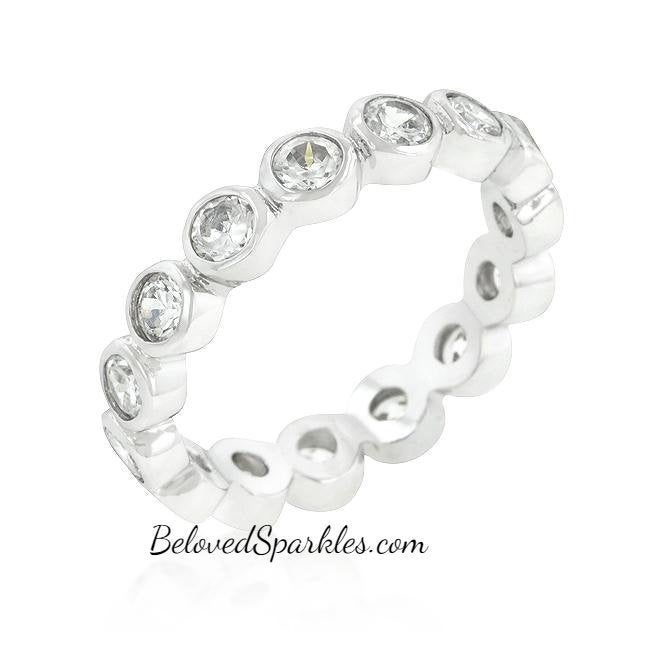 Tama 1.5Ct Round Cz Linked Bezel Silver Eternity Band Ring-Cz Faux Diamond Silvertone Bridal Wedding Anniversary Promise Stackable Ring