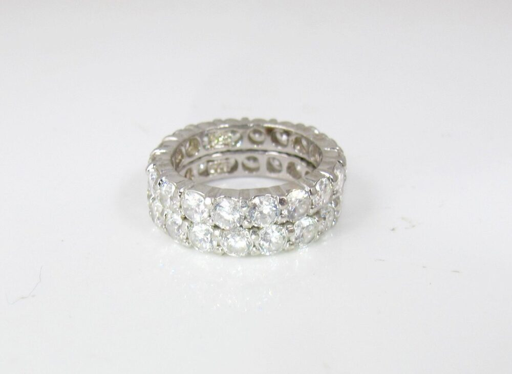 Sterling Cz Eternity Band Rings. Pair Matching Cubic Zirconia Diamond Anniversary Wedding Stacking Bands