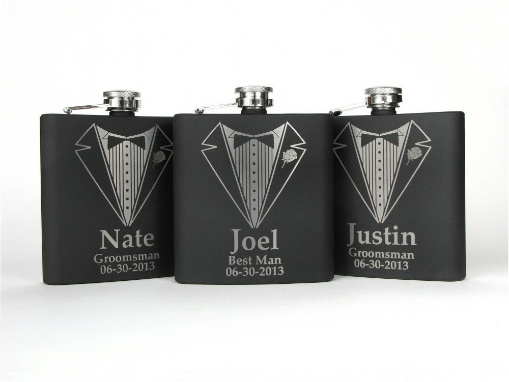 Groomsmen Gifts, 3 Flask Set, Wedding Party Flasks, Personalized Gifts For Groomsmen, Set Of