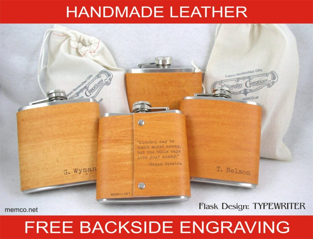 Set Of 6 Groomsman Gift For The Wedding Party Leather Flask Personalized With Free Backside Engraving