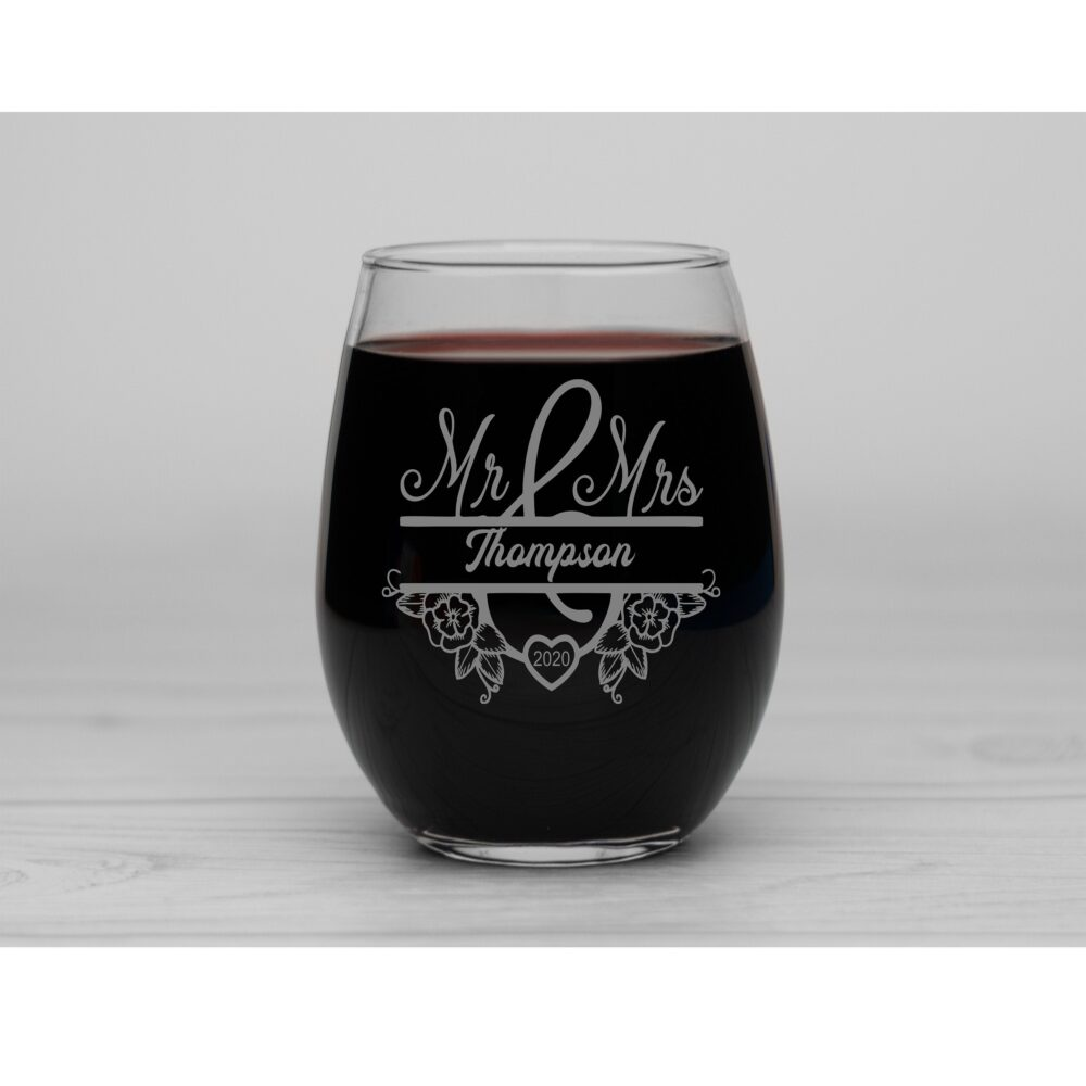 Mr & Mrs Wedding, Anniversary Personalized Engraved Stemless Wine Glass