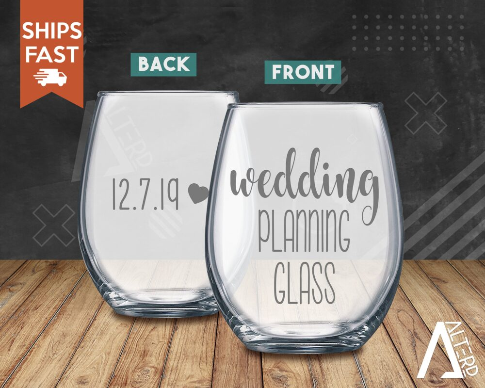 Wedding Planning Glass, Personalized Date Wine Planning Gift, Engagement Bridesmaid Proposal Gift