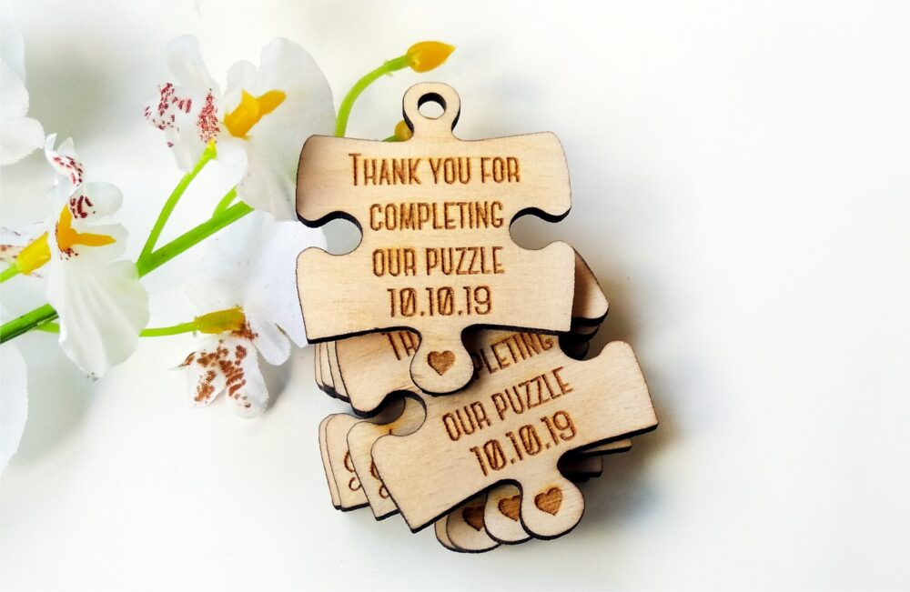 Wedding Favor, Tags, Favor Wood Rustic, Wooden Puzzle, Puzzle Tag, Favours