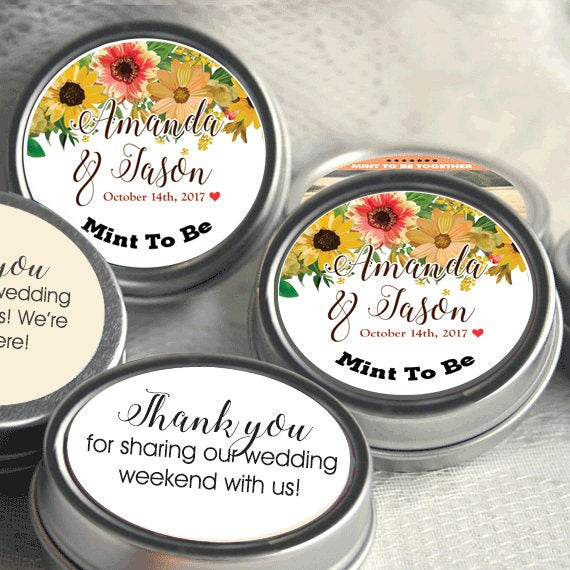 Mint To Be Wedding Favors - Edible Favor Breath Mints Personalized Fall