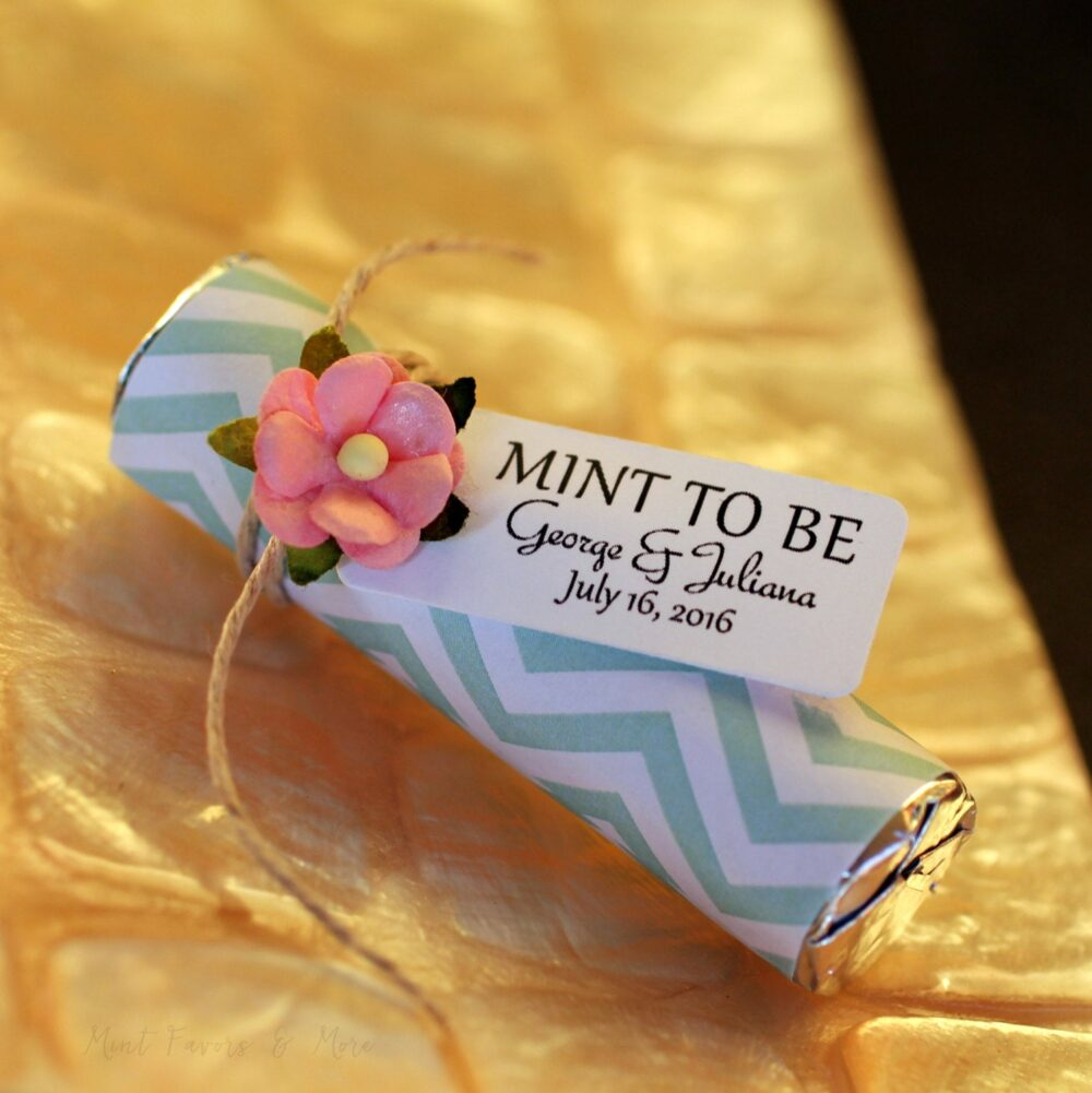 """Mint Wedding Favors - Set Of 100 Mint Rolls """"Mint To Be"""" With Personalized Tag Chevron"""