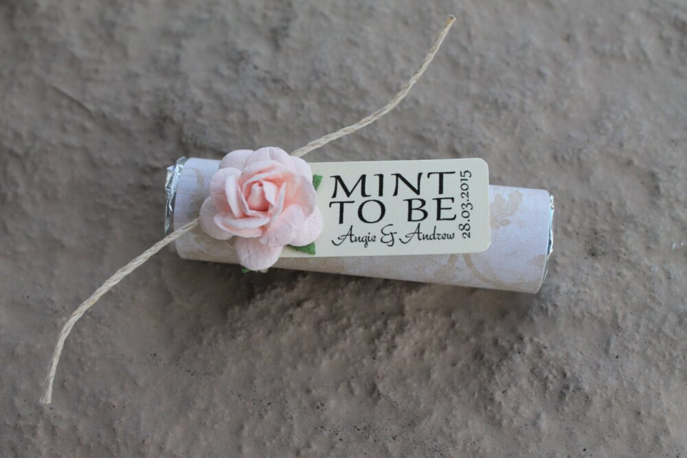 """Mint Wedding Favors - Set Of 24 Mint Rolls """"Mint To Be"""" With Personalized Tag & Pale Pink"""
