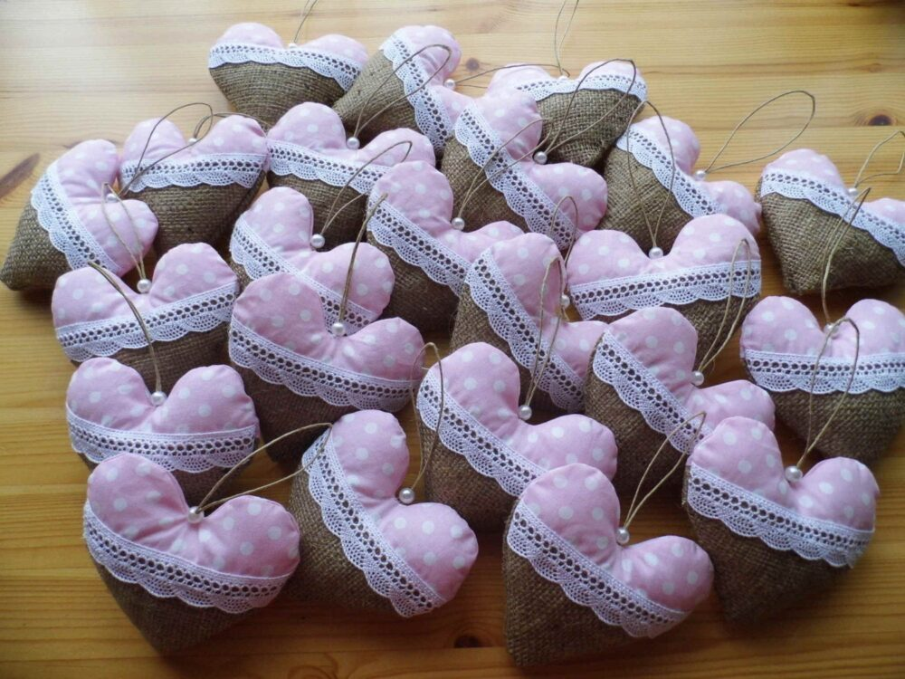 Wedding Favor Hearts, Gift For Guests, Gifts, Burlap Fabric & Lace, Barn Wedding, Baby Shower, Set Of 30