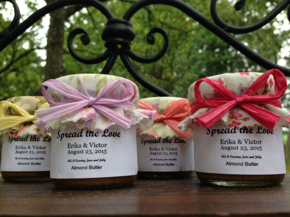 Shabby Chic Favors Vintage Wedding Jam Favors751.5 Oz Jar with Choice Of Jam, Vintage Fabric Topper , Personalized Labels & Raffia Ribbon